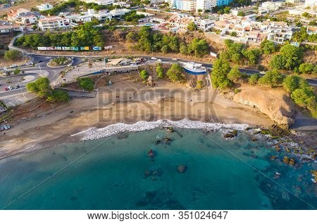 Aerial View Of Kebra Kanela - Quebra Canela Beach In Praia  - Santiago - Capital Of Cape Verde Islan