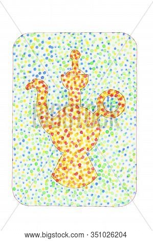 Yellow Teapot Drawn By Hands In Watercolor On A Green Background In The Style Of Pointillism