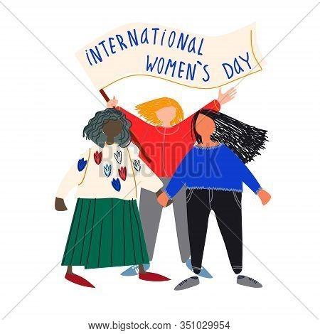 International Womens Day Vector Illustration In Flat Style. Multinational Female Group. Women Standi