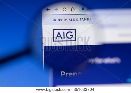 Saint-petersburg, Russia - 18 February 2020: American International Group Aig Company Website Page L