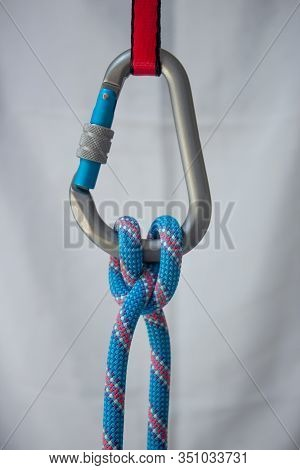 Clove Hitch Tied With A Climbing Rope To A Pear Shaped Locking Carabiner