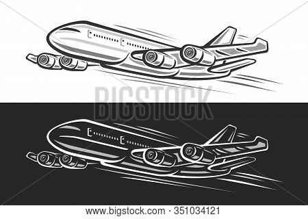 Vector Logo For Flying Plane, Horizontal Banners With Outline Illustration Of Will Land High Speed P