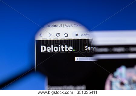 Saint-petersburg, Russia - 18 February 2020: Deloitte Company Website Page Logo On Laptop Display. S
