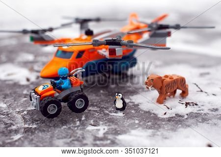 Tambov, Russian Federation - January 28, 2020 Lego All-terrain Vehicle With Explorer, Saber-toothed