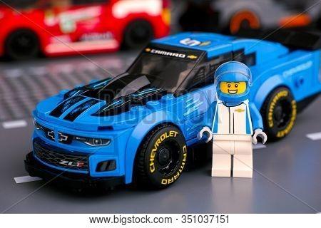 Tambov, Russian Federation - January 10, 2020 Lego Chevrolet Camaro Zl1 Race Car And Driver Minifigu