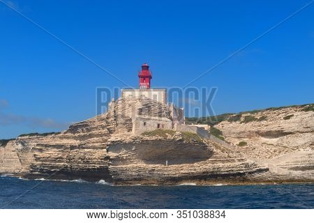 Lighthouse Madonetta at coast on island Corsica near Bonifacio
