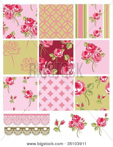Shabby Chic Vector Rose Seamless Patterns.  Use to create digital paper or print onto fabric for home furnishings or quilts.