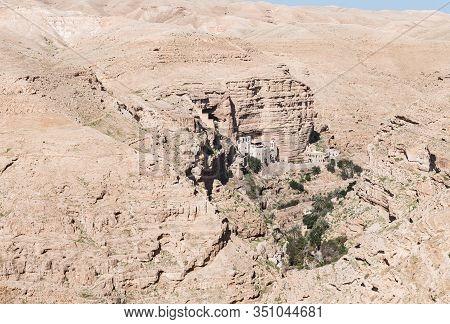Jericho, Israel, January 25, 2020 : The Monastery Of St. George Hosevit (mar Jaris) Standing Near Ye