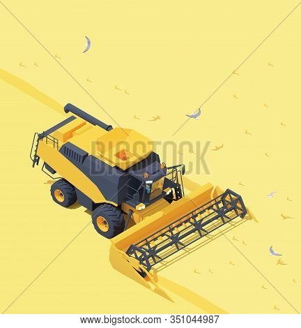 Vector Isometric Combine Harvester Working In Wheat Field. Wheat Harvesting Process With Modern Comb
