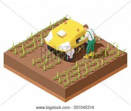 Vector Isometric Agricultural Robot Ev Working In Crop Field. Multifunctional Farming Robot. Smart F