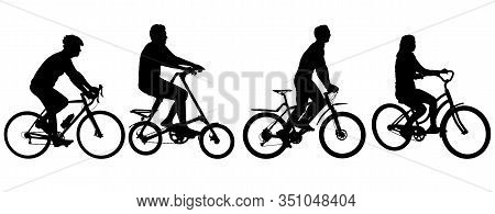 Set Silhouette Of A Cyclist Male And Female On White Background