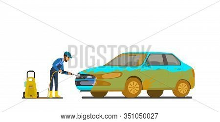 Cool Vector Flat Illustration On Dirty And Clean Car. Car Wash Stages Process From Dirty To Clean. D