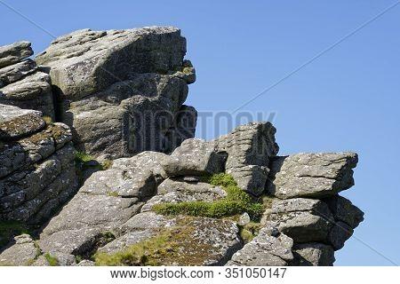 Granite Crags Of Hound Tor, Dartmoor, Devon; Uk