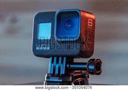 Novi Sad, Serbia, February 15. 2020: Gopro Hero 8 Black Action Camera, Illustrative Editorial