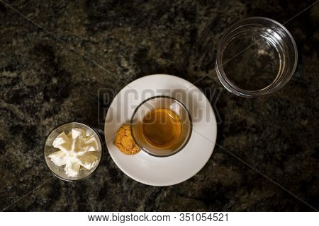 Traditional Coffee Of Trieste Italy, Black Espresso In The Glass
