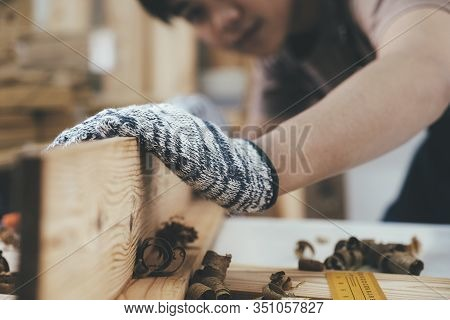 Diy Woodworking And Furniture Making And Craftsmanship And Handwork Concept. Carpenter Working On Wo