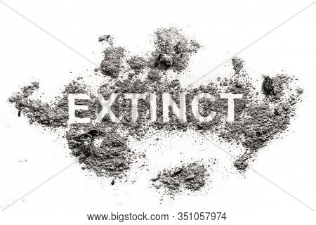 Extinct Word Written In Ash, Dust Or Dirt As Animal Species Or Nature Destruction, Pollution, Annihi
