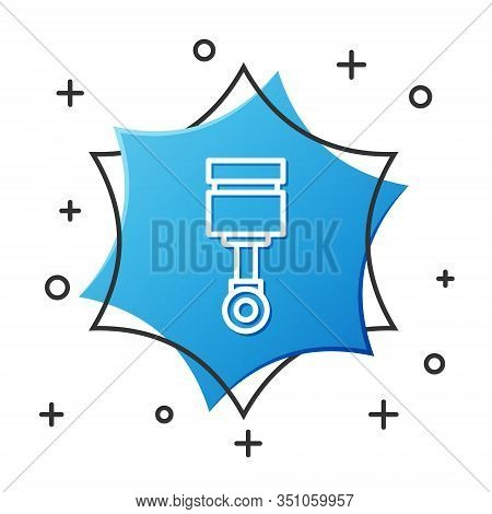 White Line Engine Piston Icon Isolated On White Background. Car Engine Piston Sign. Blue Hexagon But