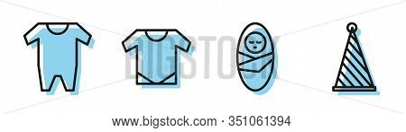 Set Line Newborn Baby Infant Swaddled, Baby Clothes, Baby Onesie And Party Hat Icon. Vector