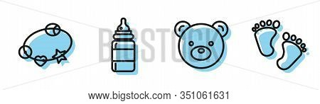 Set Line Teddy Bear Plush Toy, Rattle Baby Toy, Baby Bottle And Baby Footprints Icon. Vector