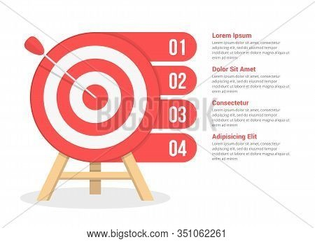 Target With Four Elements For Your Text, Four Steps To Your Goal, Infographic Template For Web, Busi