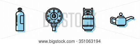 Set Line Propane Gas Tank, Industrial Gas Cylinder Tank, Motor Gas Gauge And Canister For Motor Mach