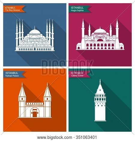 Istanbul Landmarks And Monuments. Vector Flat Icons With Shadow
