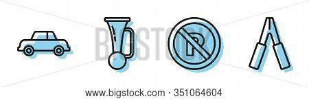Set Line No Parking Or Stopping, Car, Signal Horn On Vehicle And Car Battery Jumper Power Cable Icon