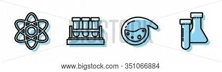 Set Line Test Tube And Flask Chemical, Atom, Test Tube And Flask Chemical And Test Tube And Flask Ch
