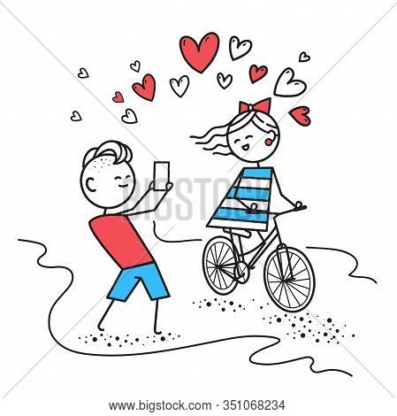 Girl Rides Bicycle And Smiles, While Boy Photographs Girl. Valentines Day Illustration For Valentine