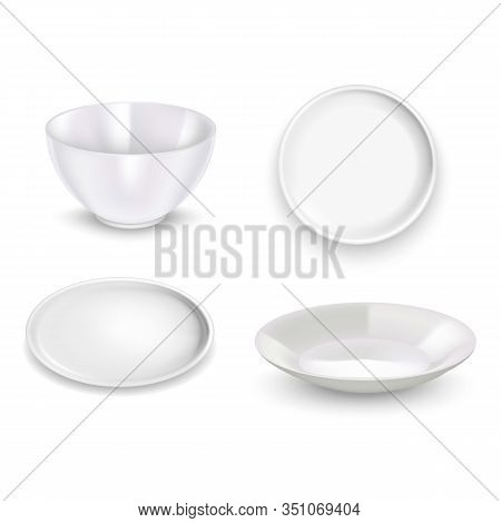 Realistic Detailed 3d White Blank Plates Empty Template Mockup Set. Vector Illustration Of Mock Up S
