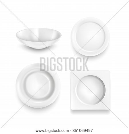 Realistic Detailed 3d White Blank Plates Empty Template Mockup Set. Vector Illustration Of Mock Up D