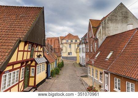 Sonderborg, Denmark - June 26, 2019: Half Timbered House With Leaning Facade In Sonderborg, Denmark