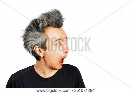 Shaggy Young Man With Long Grey Hair Surprised With Open Mouth On A White Isolated Background