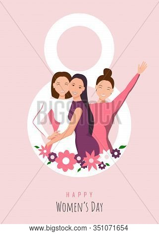 Happy Womens Day Illustration. March 8, International Womens Day. 8 March, Womens Day Background, Wo