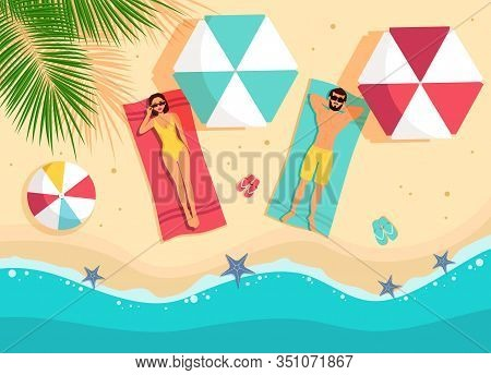 Tourist Man And Woman Lying On Beach Top Angle View Hello Summer Vacation Tropical Seaside Ocean Fla