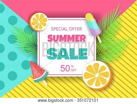 Summer Sale Banner Template. Liquid Summer Bubble With Tropic Leaf. Tropical Summer Background And S