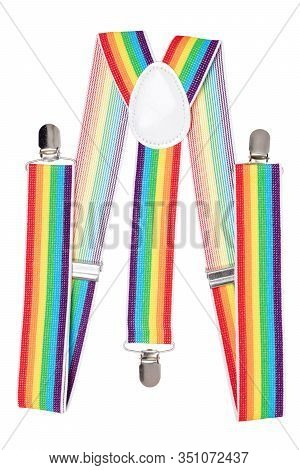 Suspenders Isolated. Close-up Of Colorful Striped Trendy Suspenders Or Braces For Jeans Of Little Bo