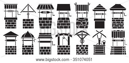 Water Well Vector Black Set Icon.vector Illustration Wooden And Stones Wellspring On White Backgroun
