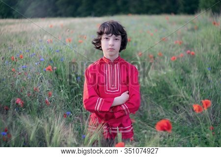 Portrait Of A Boy In A Field With Wild Flowers. A Boy Dressed In Russian Peasant Shirt.