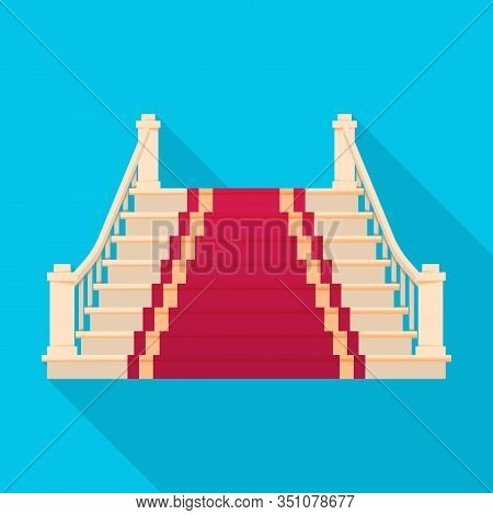 Staircase With Carpet Vector Icon.flat Vector Icon Isolated On White Background Staircase With Carpe
