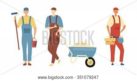 Renovation, Repair And Construction Concept. Set Of Constructor Workers In Robe With Professional Bu