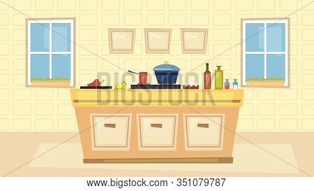 Kitchen Interiors And Cooking Concept. Modern Kitchen Interior With Big Windows, Table With Ingredie
