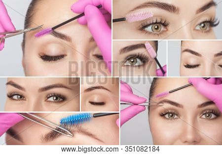 Make-up Artist Plucks Eyebrows With Tweezers To A Woman Before Staining With Henna.makeup Concept, E
