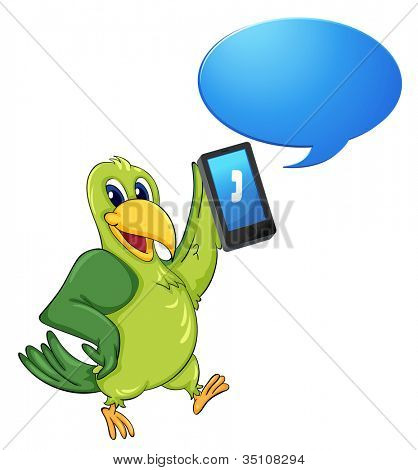illustration of a bird with cell phone on a white