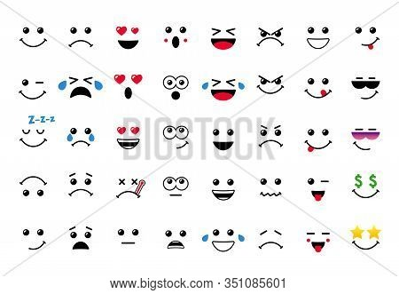 Cartoon Faces With Expressive Eyes And Mouth, Smiling, Crying And Surprised Character Expressions. C
