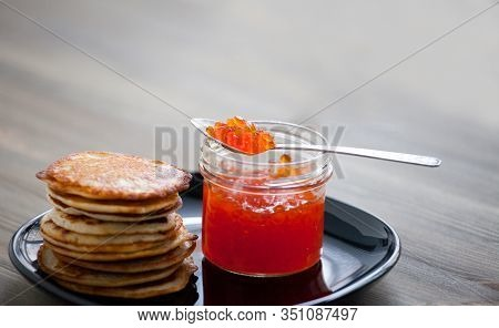 Stack Of Thin Russian Pancakes With Caviar For Shrovetide Butter Week Festival Meal, Pancakes Day Me