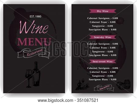 Vector Illustration Sketch - Vintage Menu. Cover For Restaurant Menu. Wine