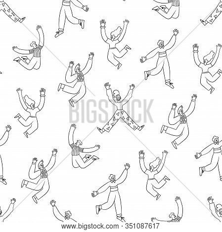 Fun Trendy People Jumping In The Air With Raised Hands. Seamless Anthropomorphic Pattern. Vector Ill