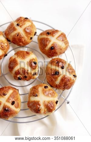 Cross-buns Containing Dried Fruits Are Traditionally Eaten During Lent Before Easter. Selective Focu